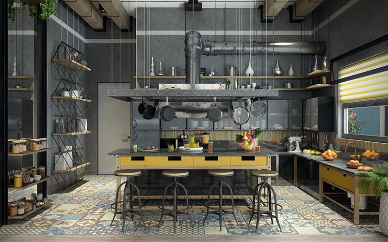 Điểm nhấn trong phong cách Industrial interior.