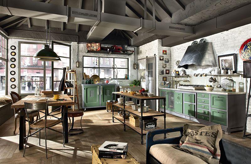 Cách bài trí nội thất phòng ăn theo phong cách Industrial interior.