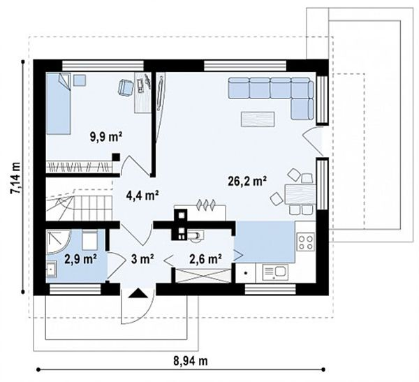 Bản vẽ mặt bằng tầng 1 mẫu nhà cấp 4 kiểu biệt thự