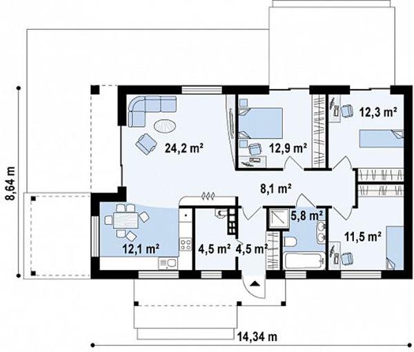 Bản vẽ mặt bằng tầng 1 mẫu biệt thự vườn mini 100m2