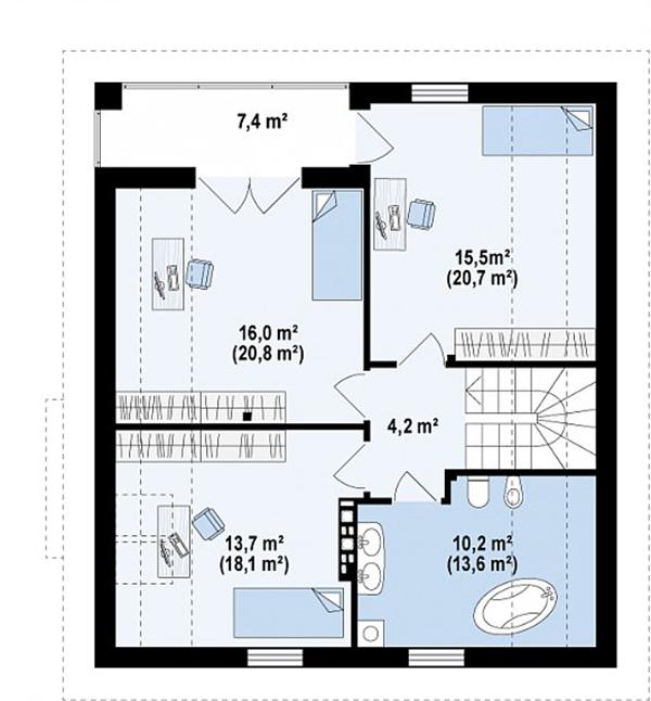 Mẫu thiết kế nhà cấp 4 có gác lửng đẹp -3-3