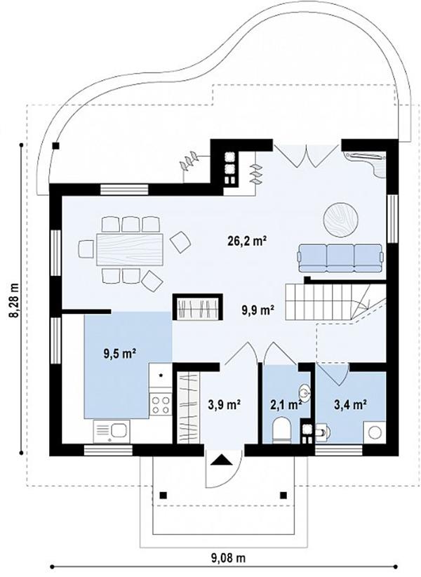 Mẫu thiết kế nhà cấp 4 có gác lửng đẹp -4-2