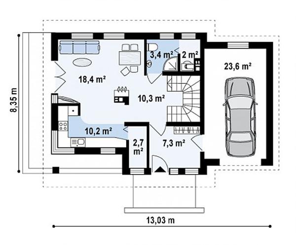 Mẫu thiết kế nhà cấp 4 có gác lửng đẹp -5-2