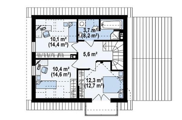 Mẫu thiết kế nhà cấp 4 có gác lửng đẹp -5-3
