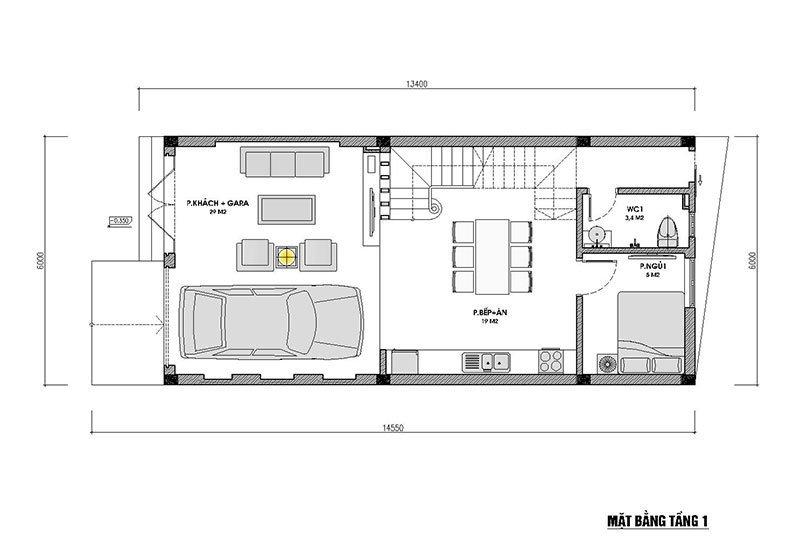 Mặt bằng nhà phố 3 tầng mái thái