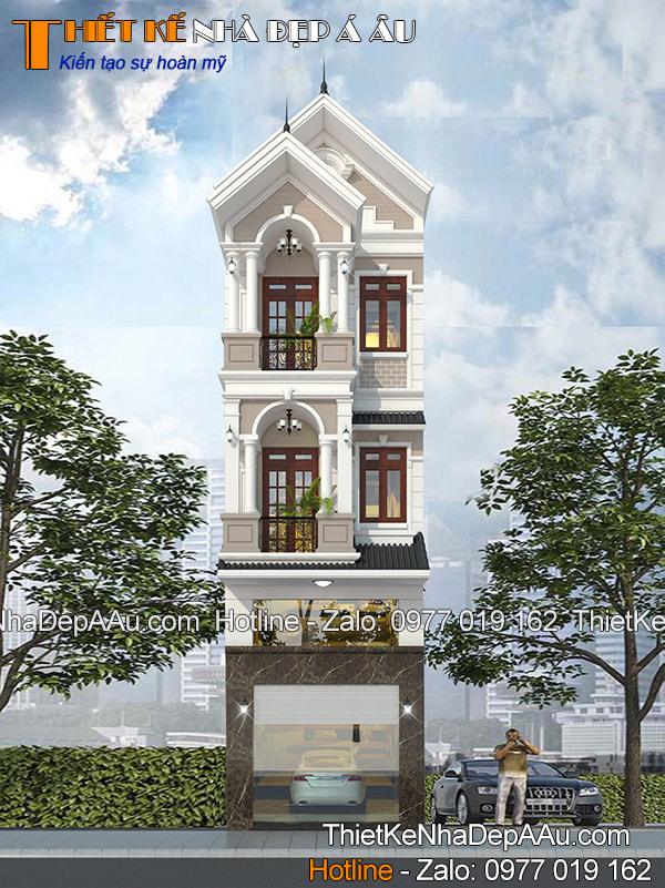 phối cảnh mặt tiền nhà phố 3 tầng mái thái hiện đại