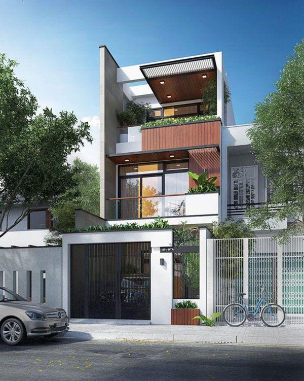 Bản vẽ kiến trúc nhà phố 3 tầng hiện đại tối giản