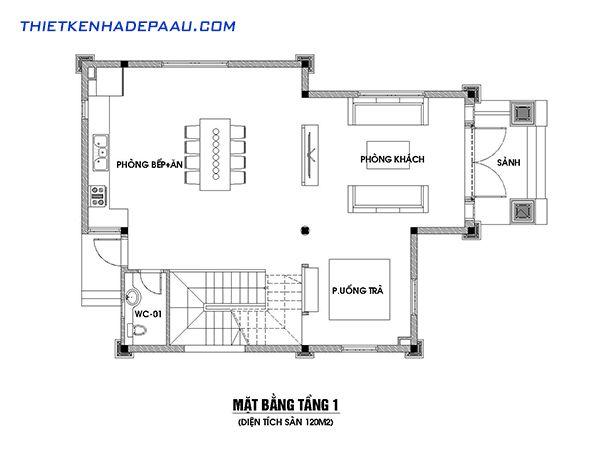 Thiết kế biệt thự mái thái 3 tầng 120m2 tại Hải Phòng- mb1