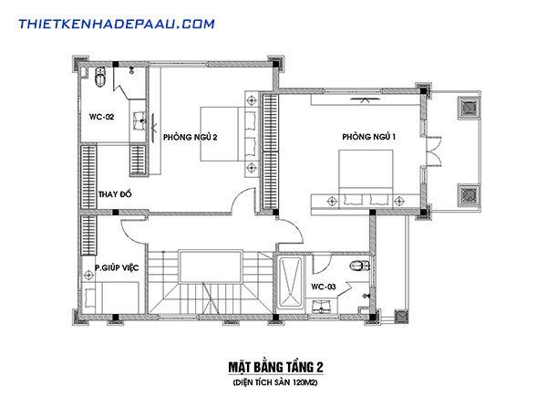 Bản vẽ mặt bằng chi tiết tầng 2 mẫu biệt thự 3 tầng tân cổ điển