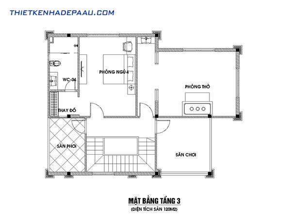 Thiết kế biệt thự mái thái 3 tầng 120m2 tại Hải Phòng-mb3