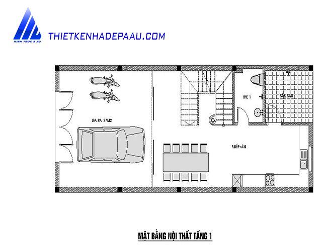 Bản vẽ mặt bằng biệt thự phố 3 tầng