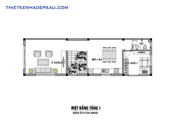 Thiết kế nhà phố hiện đại 3 tầng, 1 tum tại Lạng Sơn- mặt bằng tầng 1