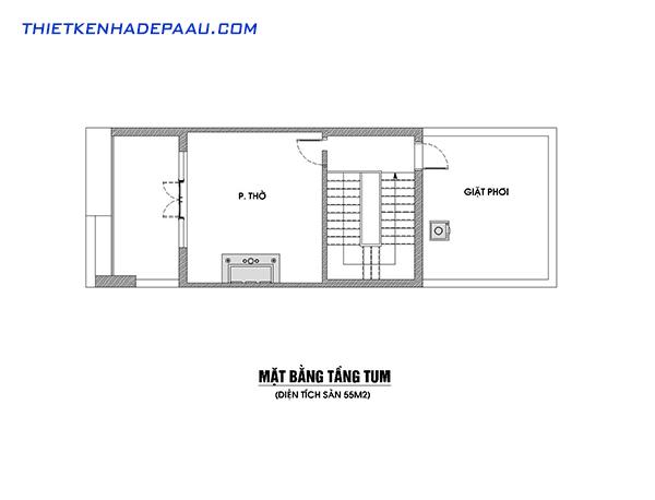 Thiết kế nhà phố hiện đại 3 tầng, 1 tum tại Lạng Sơn- mặt bằng tầng tum