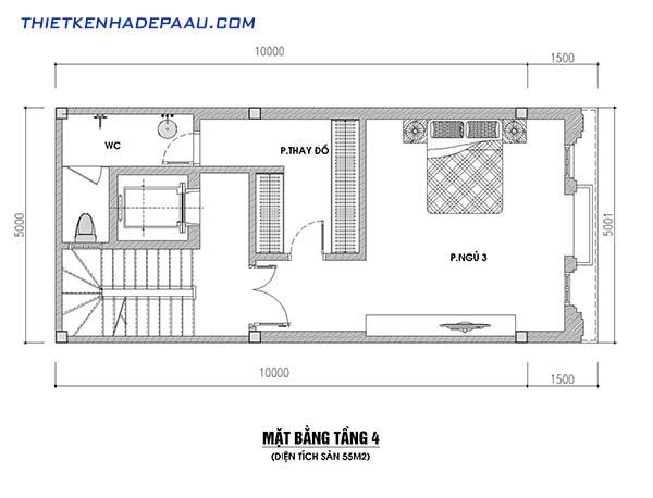 Thiết kế mặt bằng tầng 4 và cách bố trí nội thất công năng