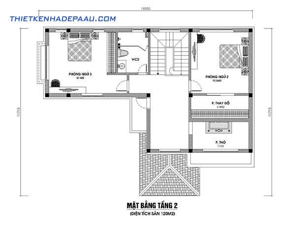Mẫu biệt thự vườn 2 tầng 120m2 tại Vĩnh Phúc-mb2