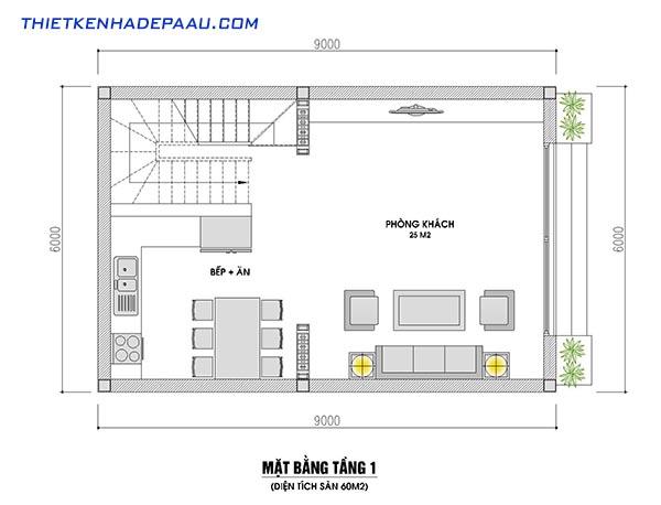 Mẫu nhà phố mái thái 2 tầng 1 tum 60m2 tại Nam Định- mb1