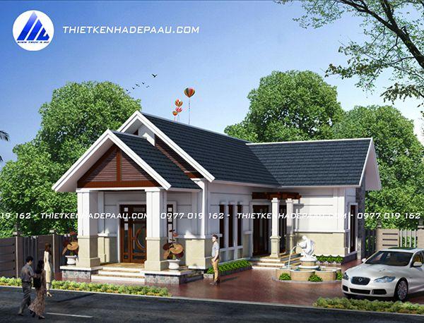 Thiết kế biệt thự mái thái 1 tầng 120m2