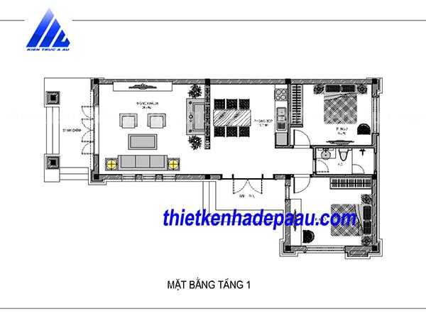 thiết kế biệt thự mái thái 1 tầng 120m2 tại Thanh Hóa- mb1