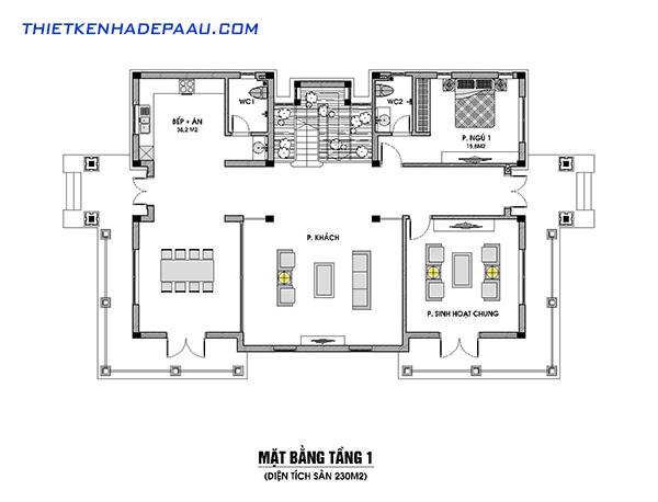 Thiết kế biệt thự 3 tầng phong cách tân cổ điển 230m2 tại Nam Định- mb tầng 1