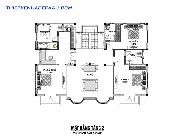 Thiết kế biệt thự 3 tầng phong cách tân cổ điển 230m2 tại Nam Định- mb tầng 2