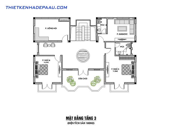 Thiết kế biệt thự 3 tầng phong cách tân cổ điển 230m2 tại Nam Định- mb tầng 3