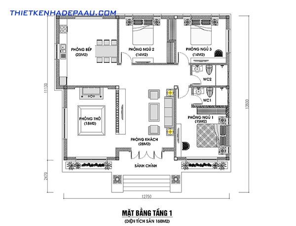 Thiết kế biệt thự hiện đại 1 tầng 160m2 tại Nghệ An- mb