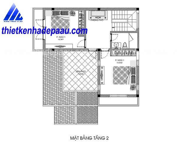Thiết kế biệt thự 2 tầng mái thái hiện đại 100m2 tại Hà Nam- mb2