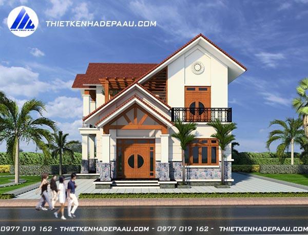 Thiết kế biệt thự 2 tầng mái thái hiện đại 100m2 tại Hà Nam- pc1