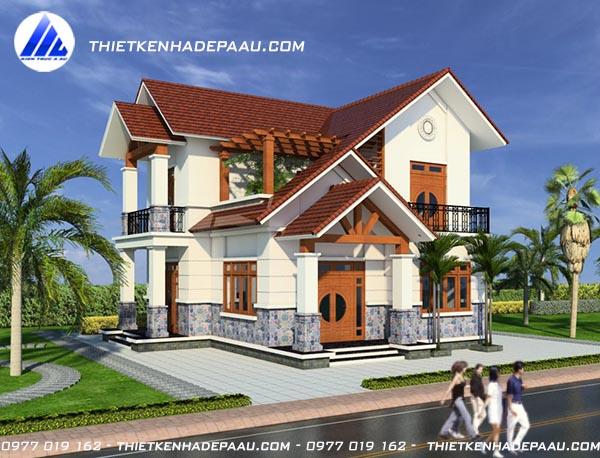 Thiết kế biệt thự 2 tầng mái thái hiện đại 100m2 tại Hà Nam- pc2