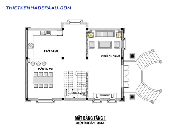 Bản vẽ mặt bằng tầng 1 của mẫu biệt thự mái thái cổ điển 2 tầng 100m2