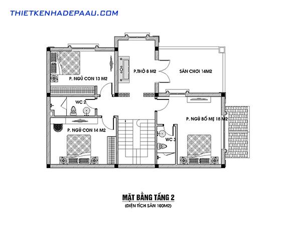 Bản vẽ mặt bằng tầng 2 biệt thự mái thái cổ điển 2 tầng 100m2