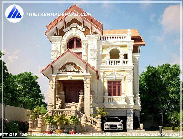 Biệt thự 2 tầng đẹp phong cách tân cổ điển