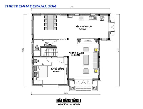 Thiết kế biệt thự mái thái 2 tầng 110m2 tại Hưng Yên-mb1