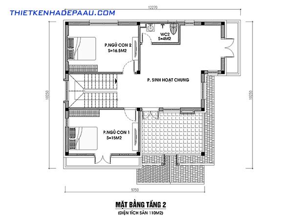 Thiết kế biệt thự mái thái hiện đại 2 mặt tiền 2 tầng 110m2 tại Hưng Yên- mb2