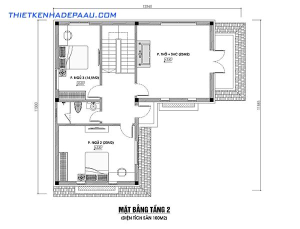 Thiết kế biệt thự phố 2 tầng hình chữ L 100m2 tại Phú Thọ-mb2
