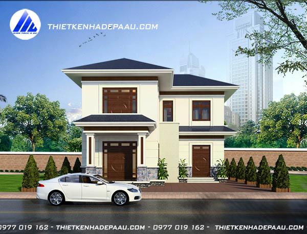 Bản vẽ phối cảnh mẫu biệt thự phố 2 tầng có kiến trúc mái Thái.
