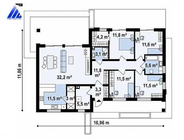 Mẫu thiết kế nhà cấp 4 1 tầng 4 phòng ngủ 126m2 tại Phú Yên-mb