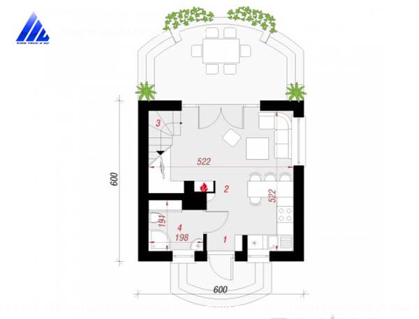 Mẫu thiết kế nhà cấp 4 có gác lửng 40m2 tại Nam Định-mb1