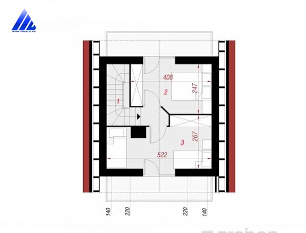 Mẫu thiết kế nhà cấp 4 có gác lửng 40m2 tại Nam Định-mb lửng