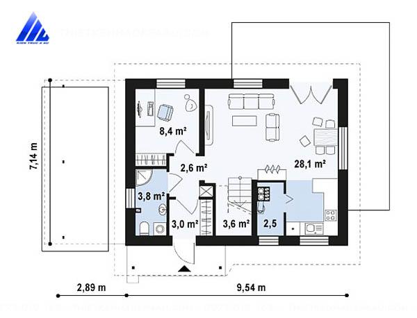 Mẫu thiết kế nhà cấp 4 có gác lửng 5x20m tại Sóc Sơn-mb1