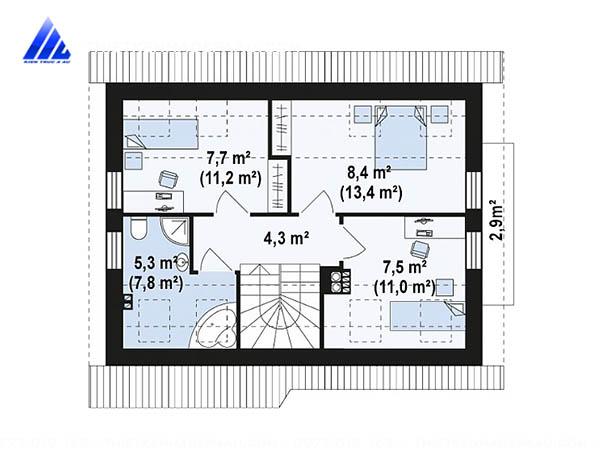 với bản vẽ mặt bằng bạn dễ dàng hình dung cách thiết kế nội thất nhà cấp 4 gác lửng