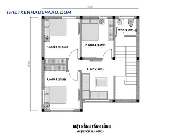 Thiết kế nhà cấp 4 có gác lửng 80m2 tại Quảng Bình- mb lửng