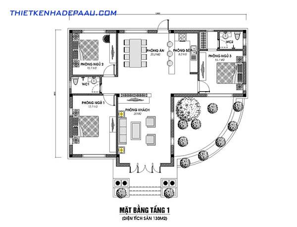 Thiết kế mẫu nhà cấp 4 chữ L 1 tầng 130m2 tại Yên Bái- mb