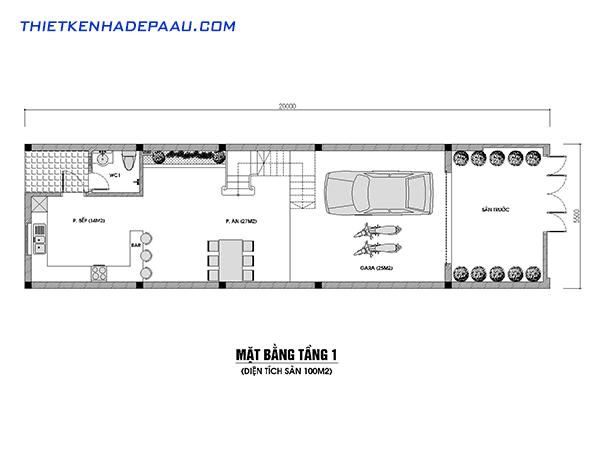 Thiết kế nhà phố 3 tầng 100m2 hiện đại tại Hòa Bình- mb1