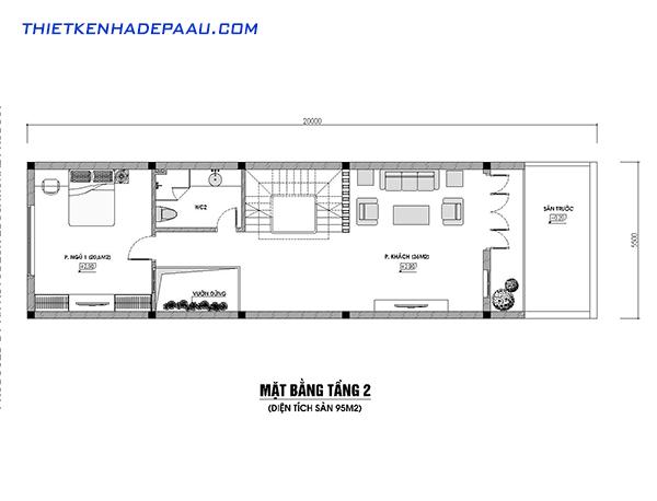 Thiết kế nhà phố 3 tầng 100m2 hiện đại tại Hòa Bình- mb2