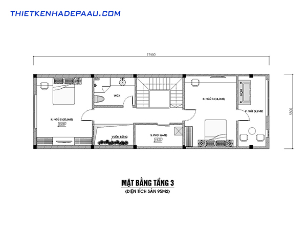 Thiết kế nhà phố 3 tầng 100m2 hiện đại tại Hòa Bình- mb3