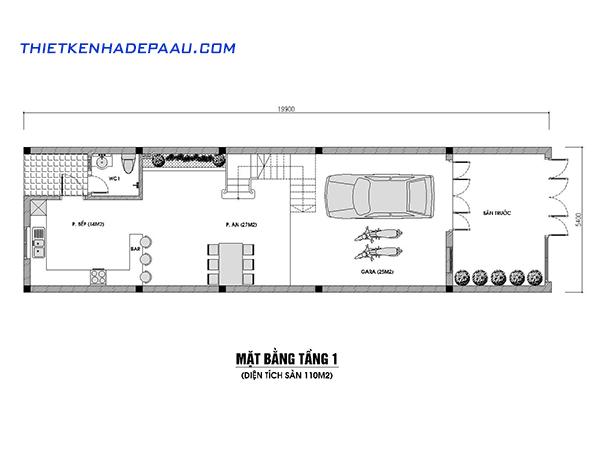 Thiết kế nhà phố hiện đại 4 tầng 110m2 tại Hà Nội-mb1