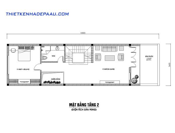 Thiết kế nhà phố hiện đại 4 tầng 110m2 tại Hà Nội-mb2