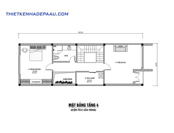 Thiết kế nhà phố hiện đại 4 tầng 110m2 tại Hà Nội-mb4