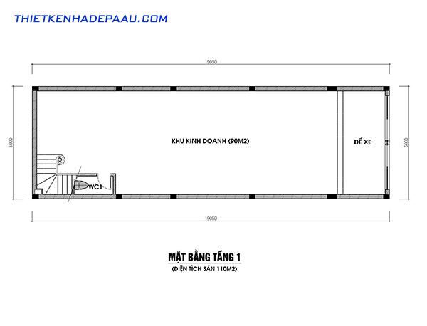 Thiết kế nhà phố kết hợp với kinh doanh hiện đại 3 tầng 1 tum có gác lửng tại Nam Định- mb1